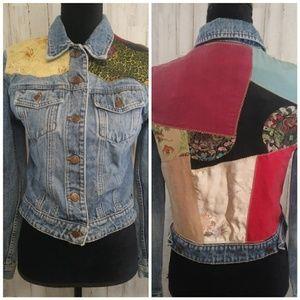 Gap Patchwork M CoatsVintage Jean Denim Jacket Floral Jacketsamp; CxBdeo